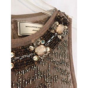 🆕 Anthropologie Beaded Dress Tan/Gold Size 0